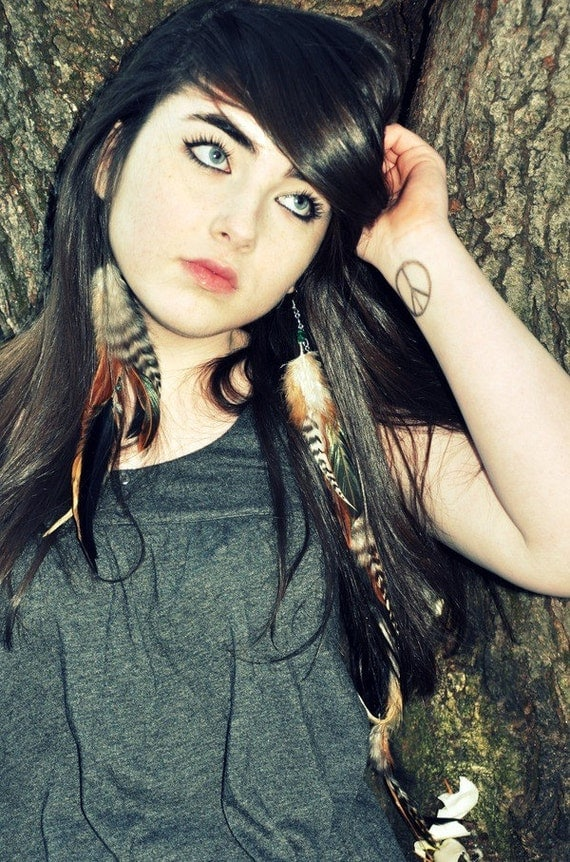 Extra Long Feather Earrings - Asymmetrical Feather Earrings, Brown and Black Feathers