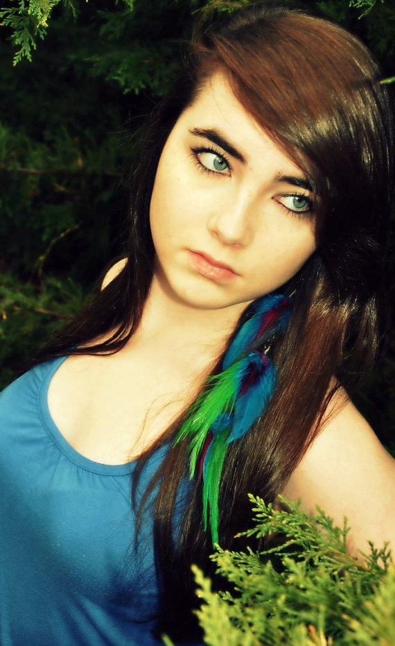Feather Earring - Long Single Feather Earring, Neon, Colorful, Beaded - Rainbow Wing