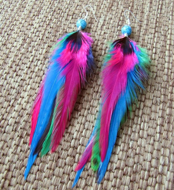 Colorful Rainbow Feather Earrings - Pink and Turquoise Feathers - Neon Lights
