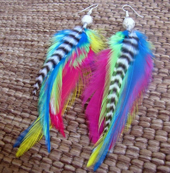 Rainbow Feather Earrings - Colorful, Beaded Neon Feather Earrings - Neon Wings
