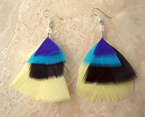 Colorful Feather Earrings - Aztec Print, Tribal Print, Beaded Feather Earrings - Isosceles (Ready To Ship)