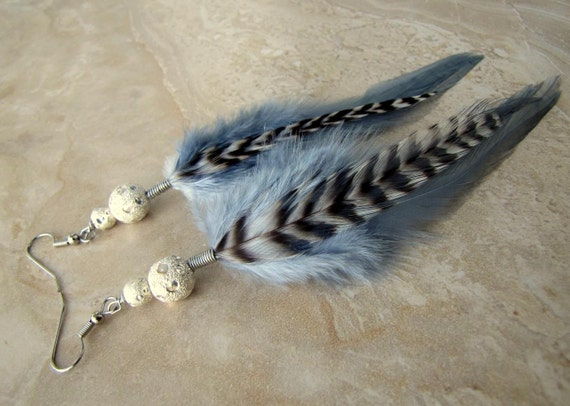 Feather Earrings - Silver Feather Earrings, Black and White Striped Feathers - Full Moon
