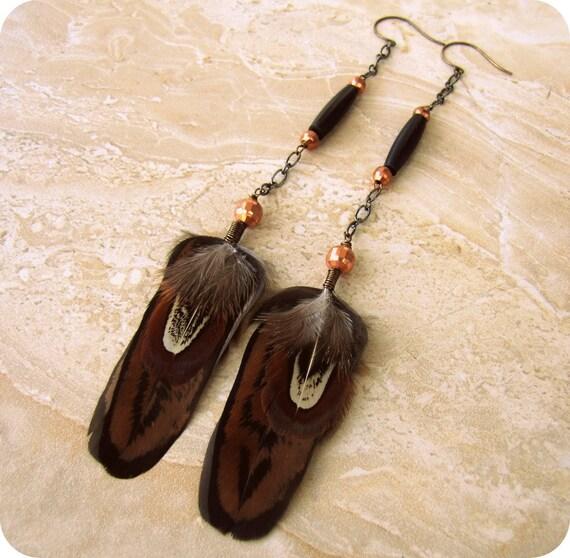 25% OFF Long Feather Earrings - Beaded Chain Earrings, Tribal Dangle Earrings - Midnight Tribe (Ready to Ship)