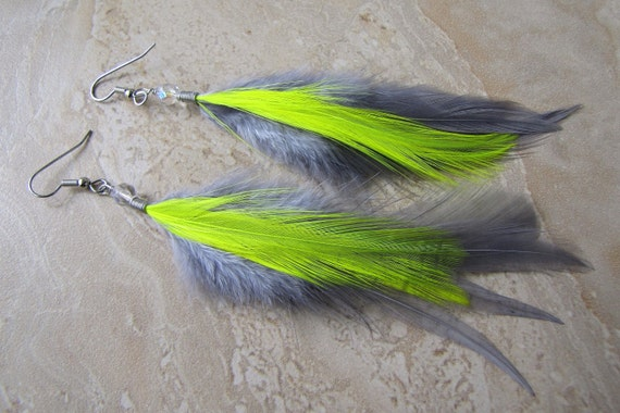 Silver Gray Feather Earrings - Neon Yellow and Grey Feathers - Electric Angel