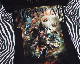Trivium Women's T-Shirt // Reconstructed T-Shirt // Size Small // Music Rock Alternative Black Lace