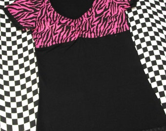 Pink Zebra Print Women's T-Shirt // Size Small // Animal Punk Goth Alternative Lace Black