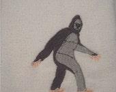 Big Foot/Sasquatch machine embroidered on hand/kitchen towel