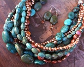 Turquoise, Copper Coin and Fresh Water Pearl, Swarovski Crystal and Sterling Silver Necklace and Earrings