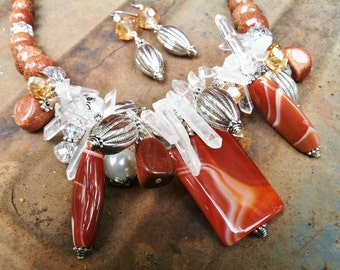 Rust Agate with Quartz, Goldstone, Pearls and Crystals Necklace and Earrings