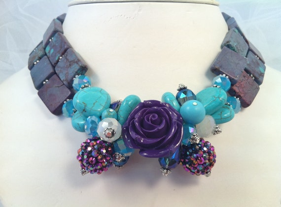 Purple Rose with Turquoise and Crystals Necklace and Earrings