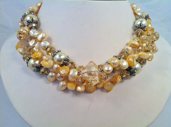 RESERVED fpr JLGRANT3 ... Yellow Potato Pearl Necklace, Earrings and Bracelet