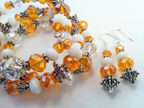 Orange, White and Silver Crystals Coil Bracelet with Matching Earrings