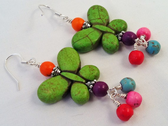Green Magnesite Butterfly Earrings with Orange, Pink, Red, Turquoise and Purple Beads