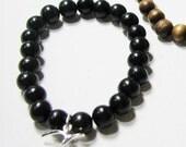 Ebony wood bead charm bracelet base