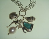 Sterling and Aqua Sea Glass Charm Necklace for Denise
