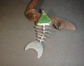Silver Bonefish Pendant with Sea Glass