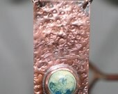 Hammered Copper and Porcelain Pendant