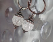 Rustic White Crackle Crystal Quartz Earrings in Copper with Hand Forged Ring - Snowball
