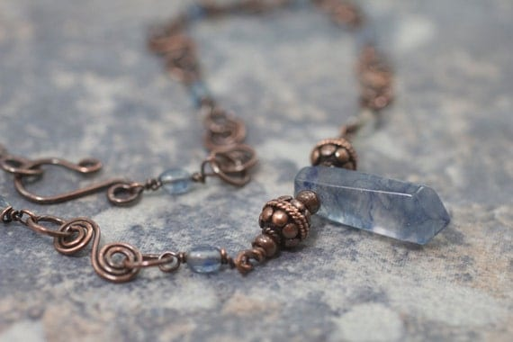 Blueberry Quartz Necklace with Handmade Copper Chain