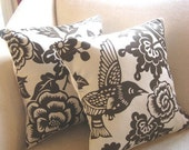 16 x 16 inch Brown Bird and Floral Print Pillow Cover