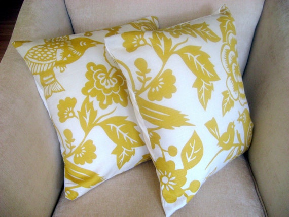 16 x 16 inch Yellow Bird and Floral Print Pillow Cover