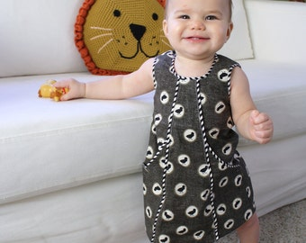 Baby Toddler Dress PDF Sewing Pattern and Tutorial (sizes: 6m, 12m, 18m, 2t, 3t, 4, 5) CITY JUMPER, Instant Download