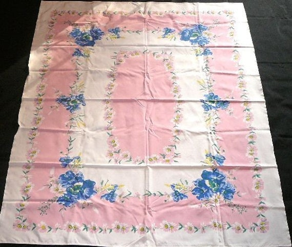 Bright Pink and Blue Floral Vintage Tablecloth