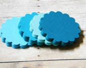 Scalloped Round  Tags Wish Tree Journaling Spots Banner Escort Cards Set of 60 Shades of Teal  Turquoise  Aqua
