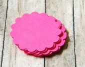 Hot Pink Scalloped Round Tags Wish Tree Journaling Spots Escort Cards Set of 50