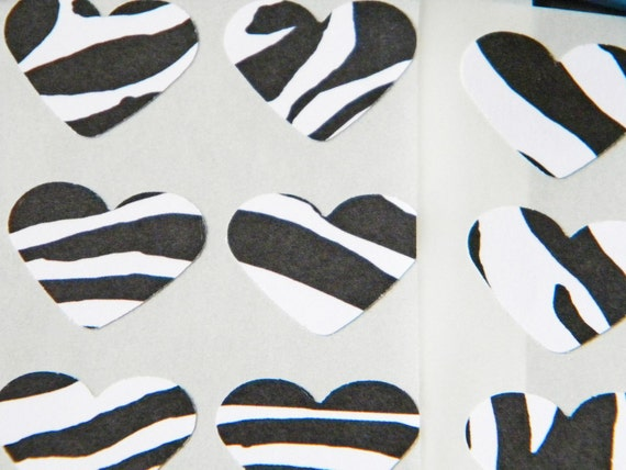 Zebra Print Heart Shaped Stickers or Envelope Seals Black and White Set of 16