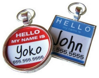 """The Original """"Hello My Name Is"""" Silver Pet ID Tag -As Seen In Modern Dog Magazine"""