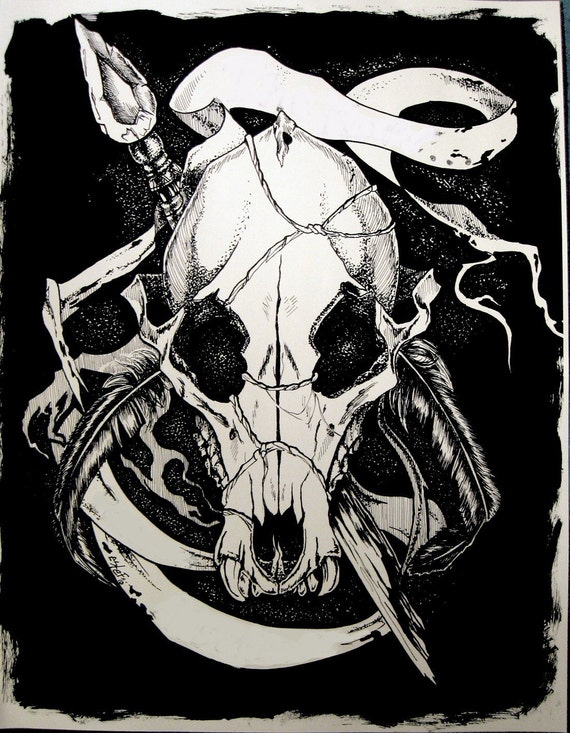 Ink Drawing Print, Apocalypse Wolf Skull 11x14 inch
