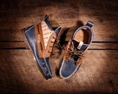 Handcrafted HIGHTOP Leather Boat Shoes - Navy and Tan with hand etched anchor & stripes detail - MADE to ORDER