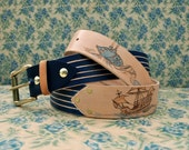 A Sea Monster Named Sue - Handcrafted leather vegetable tanned belt - Blue stripe & tan