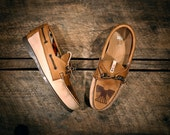 Tan & Brown Leather Boat Shoes with etched Eagle - Southwest style Pendleton fabric lined - MADE TO ORDER