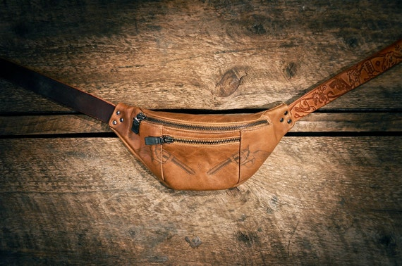 Handcrafted TAN leather fanny pack - laser etched pistols - hand etched belt - Southwest lining - OOAK
