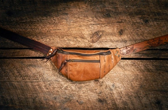 Handcrafted TAN leather fanny pack - laser etched STRIPES and anchors - hand etched belt - Seamonster & tall ships - Maroon zips- OOAK