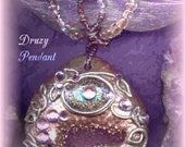Custom/ Spiritual Steampunk(tm)/ Tolkien/ Word Pendant/ Druzy/ GLITTERING CAVES/ Necklace/Enchanted Portal Gems(tm) Collection/ Flower Bail