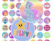 Magical Unicorns Digital Collage Sheet - 1 Inch Circles - Instant Download