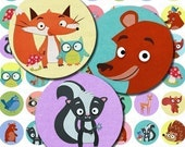 Woodland Critters Digital Collage Sheet - 1 inch Circles - Instant Download