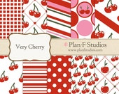 """Very Cherry Digital Paper Set - 12"""" x 12"""" JPG Images - 10 Sheets - Instant Download"""