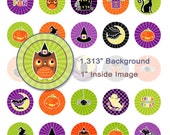 INSTANT DOWNLOAD Super Colorful Halloween Digital Collage Sheet - 1.313 Inch Circles