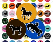 Wild Horses Digital Collage Sheet - 1 Inch Circles - Instant Download