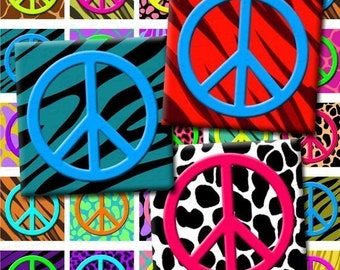 INSTANT DOWNLOAD Peace Signs and Animal Prints Digital Collage Sheet - 1x1 Inch Squares