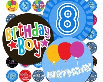 Birthday Boy Digital Collage Sheet  - 1 Inch Rounds for Bottle Caps and More - Instant Download
