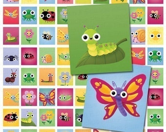 Cute Springtime Critters and Bugs Digital Collage Sheet - Scrabble Tile Sized 0.75 Inch X 0.83 Inch - Instant Download