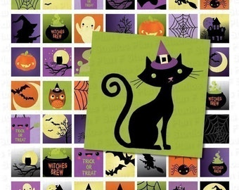 Cute Colorful Halloween Images Digital Collage Sheet - 1x1 Inch Squares - Instant Download