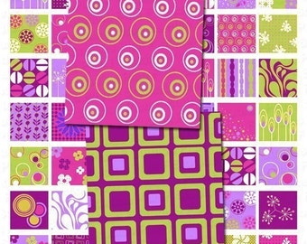 Modern Chic in Purple Digital Collage Sheet - 1x1 Inch Squares - Instant Download