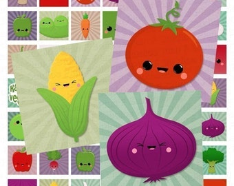Kawaii Veggies Digital Collage Sheet - 1x1 Inch Squares - Instant Download