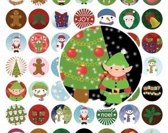 Cute Christmas Images Digital Collage Sheet - 1 Inch Circles - INSTANT DOWNLOAD